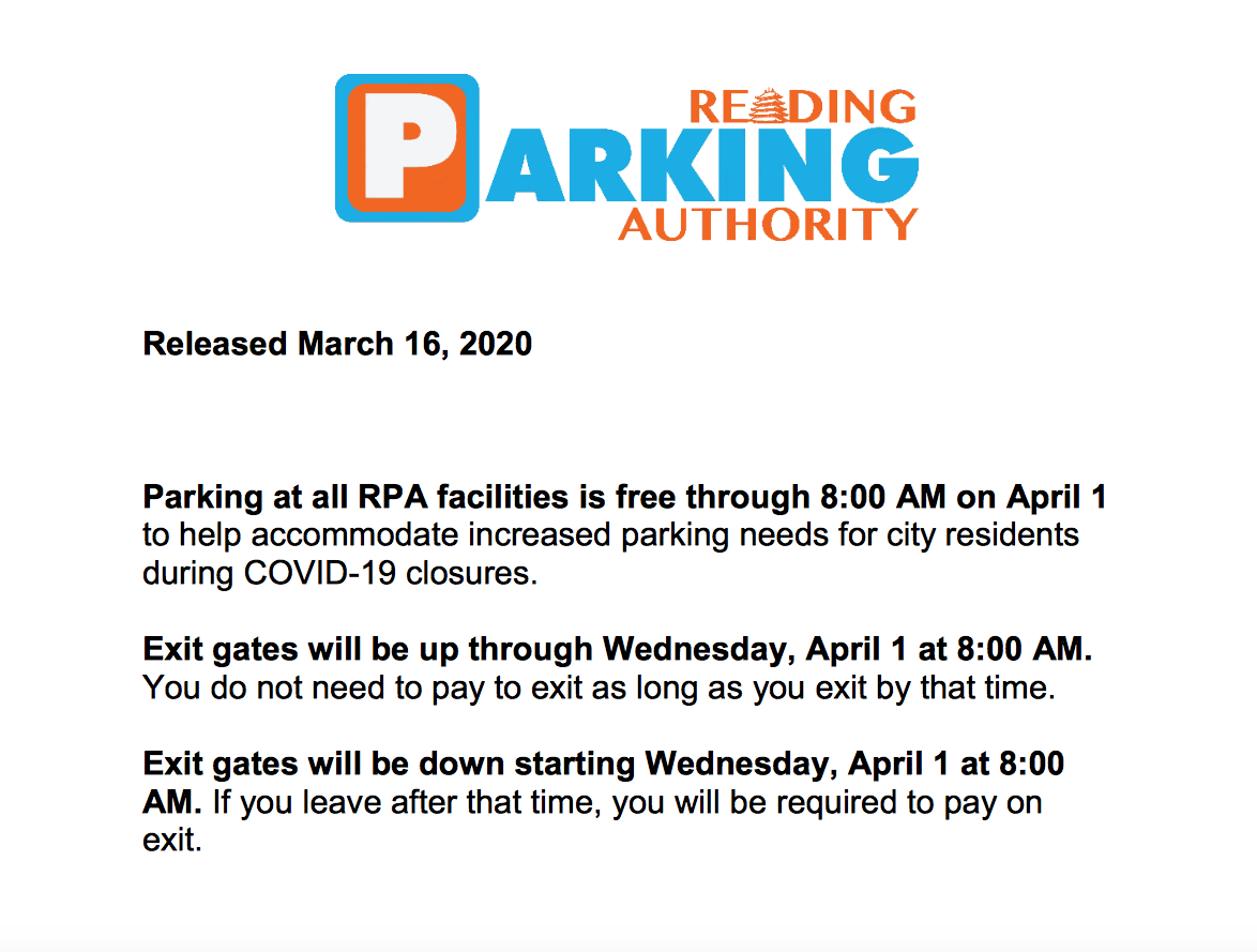 free parking march 17 update